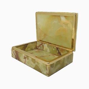 Vintage Italian Green & Brown Alabaster Box, 1960s