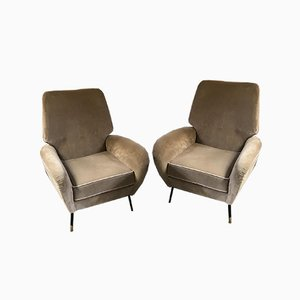 Reclining Velvet Camea Lounge Chairs, 1950s, Set of 2