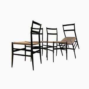 Superleggera Esszimmerstühle von Gio Ponti für Cassina, 1950er, 4er Set