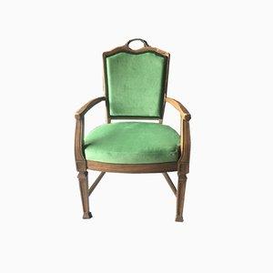 Antiker Grüner Französischer Sessel
