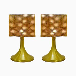 Plexiglass & Caning Table Lamps, 1960s, Set of 2