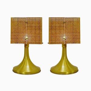 Tischlampen aus Plexiglas & Leinen, 1960er, 2er Set