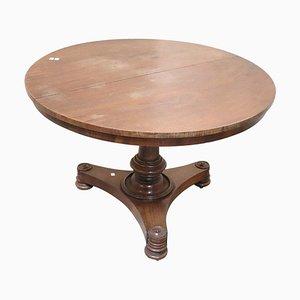 Mesa de comedor antigua redonda de nogal, década de 1800