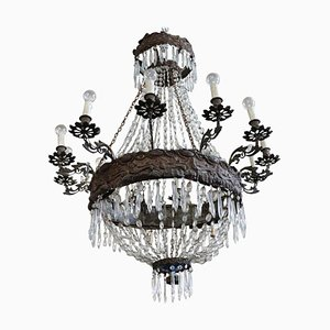 Antique Crystal & Bronze Chandelier, 1800s