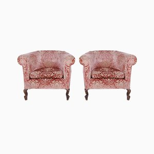 Damask Lounge Chairs, 1940s, Set of 2