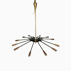 Mid-Century Brass & Black Metal Ceiling Lamp by Oscar Torlasco for Lumi