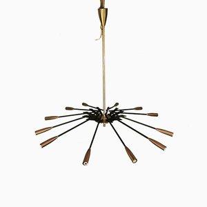 Mid-Century Brass & Black Metal Ceiling Lamp by Oscar Torlasco for Lumi
