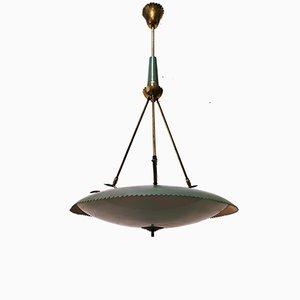 Mid-Century Aluminium & Brass Ceiling Lamp