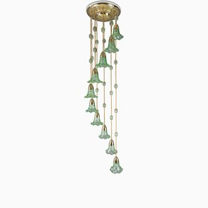 Austrian Art Nouveau Chandelier with Original Palme König Glass Shade, 1919