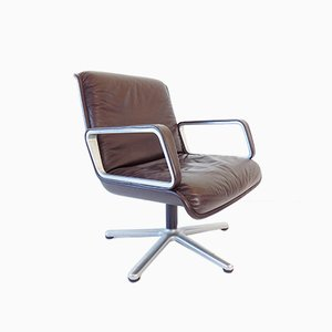 Brown Leather Delta 2000 Chair by Delta Design for Wilkhahn, 1960s