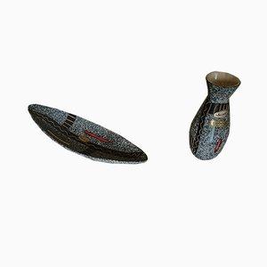 Keramik Schale & Vase von Scheurich, 1950er, 2er Set