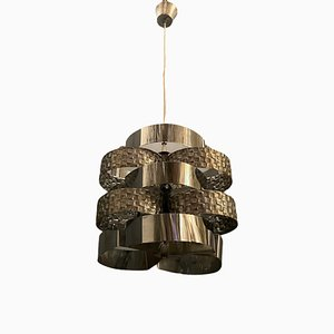 Mid-Century Architectural Metal Pendant Lamp by Mazzega, 1970s