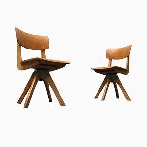 Mid-Century German Wooden Children Swivel Chair from Casala
