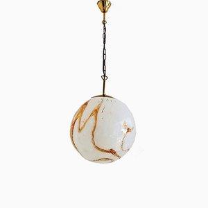 Lampe à Suspension Vintage en Verre de Murano & Laiton, 1970s