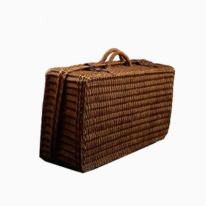 French Wicker Picnic Hamper with Ceramic Plates & Cups from Terre de Feu de Choisy-le-Roi, 1920s