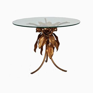 Side Table with Glass Top & Frame with Gilded Leaves & Flowers from Hans Kögl, 1970s