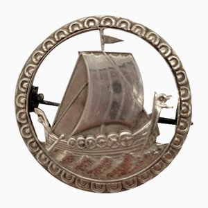 Vintage Norwegian Silver Viking Brooch by Elvik for Nils M. Elvik