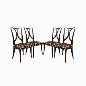 Italian Art Deco Dining Chairs Attributed to Guglielmo Ulrich, 1940s, Set of 4
