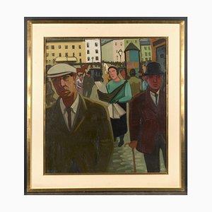 Louis Francois Decoeur, Rue Animée, Öl auf Leinwand
