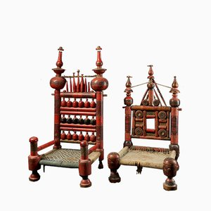 Vintage Hand-Crafted Wooden Punjabi Wedding Chairs, Set of 2