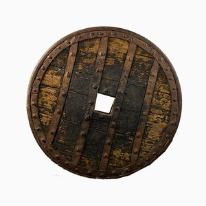 French Heavy Forged Iron & Hardwood Chariot Wheel, 14th Century