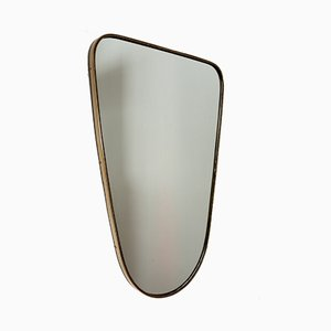 Vintage Italian Wall Mirror with Decorated Brass Frame, 1950s