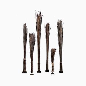 Antike Palmenblatt Midribs Chief Scepters Collection von Mbole People, DRC, 6er Set