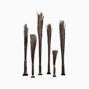 Antique Palmtree Leaf Midribs Chief Scepters Collection by Mbole People, DRC, Set of 6