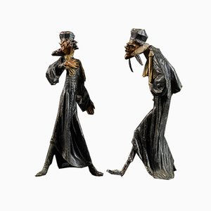 Karikaturen von Pleading Lawyers, Bronze, 2er Set