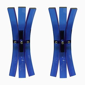 Blue Glass Wall Sconces from Veca, 1960s, Set of 2