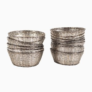 Mid-Century Silver-Plated Bread Crooks, Set of 18