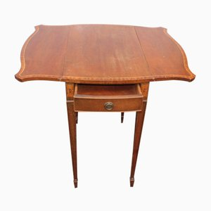 Small Antique Mahogany Drop Leaf Side Table with Inlay, 1900s