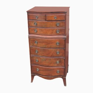 Mahogany Bow Front Chest of Drawers with 8 Drawers, 1940s