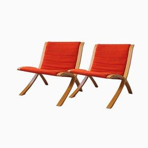 Club chair Axe di Peter Hvidt & Orla Mølgaard-Nielsen per Fritz Hansen, 1979, set di 2