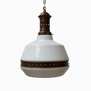 Antique German Opaline Glass Ceiling Lamp, 1930s