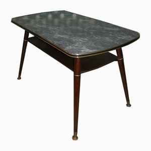 Marble-Effect Formica Coffee Table with Storage, 1950s