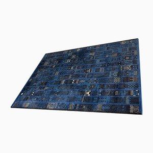 Grand Tapis Expo Bleu à Motifs par Prof. Margret Hildebrand pour Anker Teppich, Allemagne, 1950s
