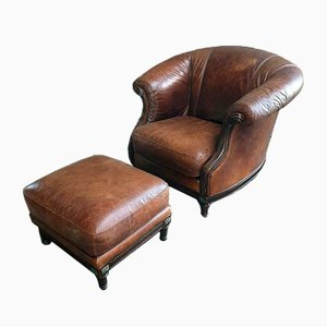 Vintage Leather Armchair with Ottoman, 1970s, Set of 2