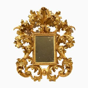Small Carved Gilded Mirror with Gold Leaf Frame, Late 19th Century