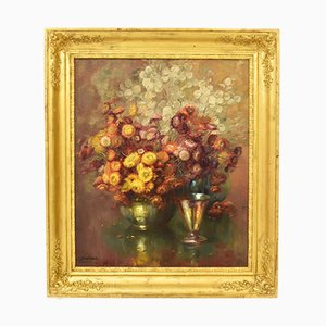 19th-Century, Oil Painting of Flowers, J. Stappers