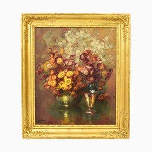 Peinture à l'Huile de Fleurs, J. Stappers, 19ème Siècle