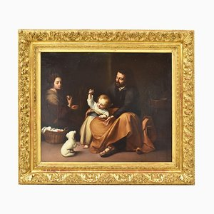 Antique Painting, Holy Family with Dog and Little Bird, 19th-Century