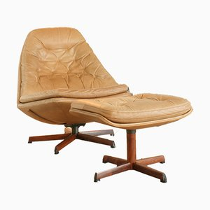 Rosewood & Leather Lounge Chair and Ottoman by HW Klein for Bramin, 1960s