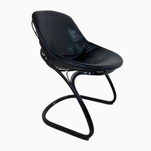 Italienischer schwarzer Sabrina Chair aus Leder & Stahl von Gastone Rinaldi für Thema, 1970er