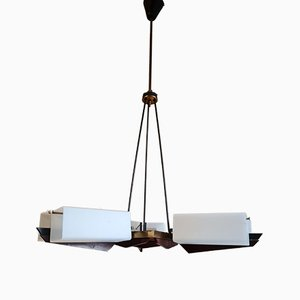 Brass, Wood & Glass Ceiling Lamp, 1958