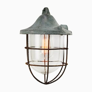 Mid-Century Industrial Gray Metal & Clear Glass Cage Lamp
