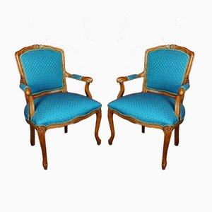 Italian Louis XV Style Walnut Armchairs, Set of 2