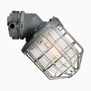Industrial Grey Cast Aluminum & Clear Glass Wall Lamp from Industria Rotterdam, 1950s