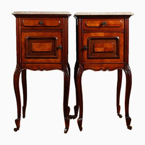 Antique French Mahogany Nightstands with Beige Marble Tops on Castors, Set of 2