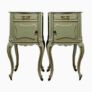 Antique French Mahogany & White Carrara Nightstands with Marble Tops on Castors, Set of 2